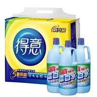 【得意】連續抽取式花紋衛生紙 + 【藍寶】清香漂白水3瓶 組合包