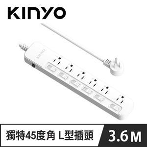 KINYO SD-36612 6開6插安全延長線 12呎 3.6M