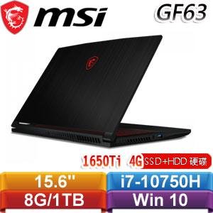 MSI微星 GF63 Thin 10SCSR-283TW 15.6吋窄邊框戰鬥電競筆電