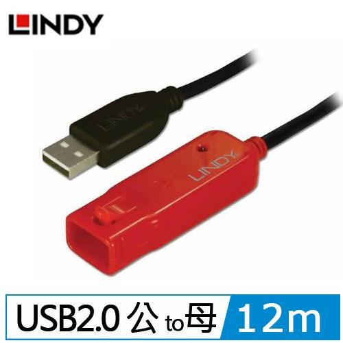LINDY林帝USB 2.0 TYPE-A/公 TO TYPE-A母 主動式延長線 12M