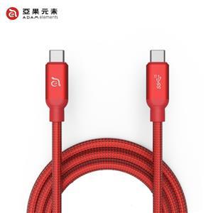 【亞果元素】ADAM CASA C200+ USB3.1 Gen 2 C對C充電傳輸線 紅 2m