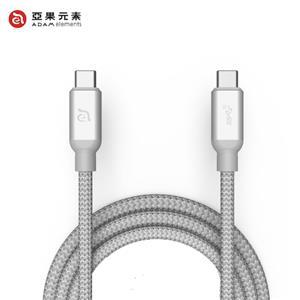 【亞果元素】ADAM CASA C100+ USB3.1 Gen 2 C對C充電傳輸線 銀 1m