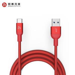 【亞果元素】ADAM CASA M100+ USB3.1 Gen2 USB-C 對 A充電傳輸線 紅