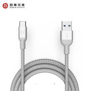 【亞果元素】ADAM CASA M100+ USB3.1 Gen2 USB-C 對 A充電傳輸線 銀