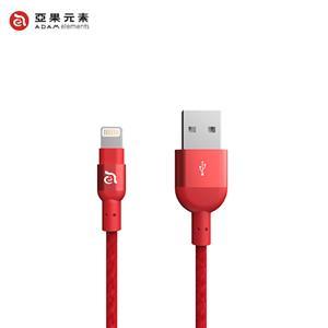 【亞果元素】ADAM PeAk2 Lightning 充電傳輸編織線 20公分-紅