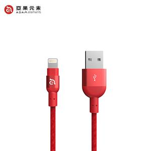 【亞果元素】ADAM PeAk2 Lightning 充電傳輸編織線120公分-紅