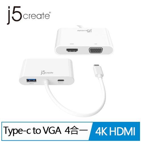 j5 JCA175 USB-C to VGA+4K HDMI 4合1螢幕轉接器