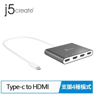 j5 JCA366 USB-C to 4-Port HDMI 多螢幕外接顯示卡