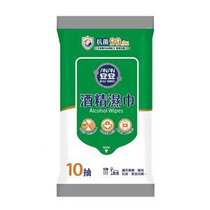 【安安】加大型酒精濕巾 抑菌濕紙巾 (10抽x72包/箱)
