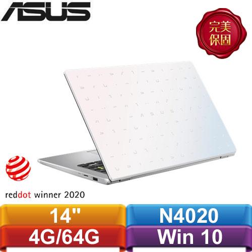 ASUS華碩 E410MA-0111WN4020 14吋輕薄小筆電 夢幻白