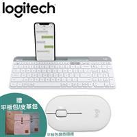 【白色組合】羅技 K580 Slim 多工無線藍牙鍵盤+M350 鵝卵石無線滑鼠
