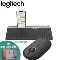 【黑灰組合】羅技 K580 Slim多工無線藍牙鍵盤+ M350 鵝卵石無線滑鼠
